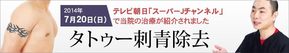 2014年1月6日(月)TBS「私の何がイケないの」で当院の治療が紹介されました 夕トゥー刺青除去