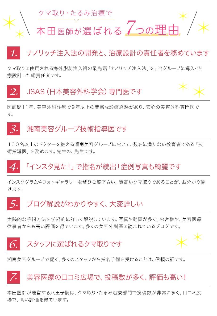 本田医師が選ばれる『7つの理由』